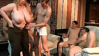 Giant blonde rides and sucks cock at party