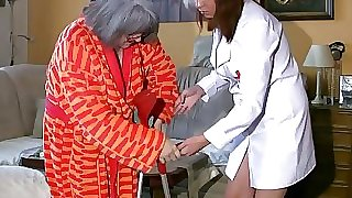 BBW chubby Nurse wank with old Granny