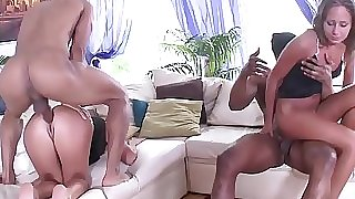 Fit to Fuck Russian Babes - 2on2 Black on White Anal Sex with Double penetration